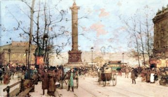 The Bastille Paris. Art works by Eugene Galien-Laloue